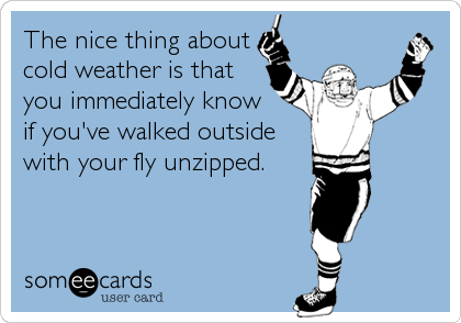 someecards.com - The nice thing about cold weather is that you immediately know if you've walked outside with your fly unzipped.