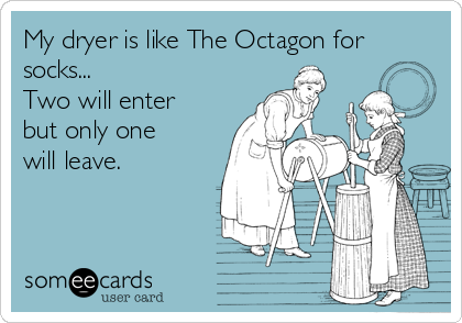 someecards.com - My dryer is like The Octagon for socks... Two will enter but only one will leave.
