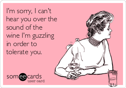 someecards.com - I'm sorry, I can't hear you over the sound of the wine I'm guzzling in order to tolerate you.