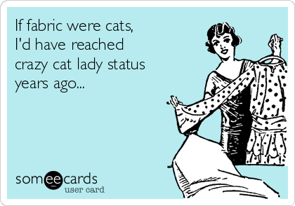 someecards.com - If fabric were cats, I'd have reached crazy cat lady status years ago...