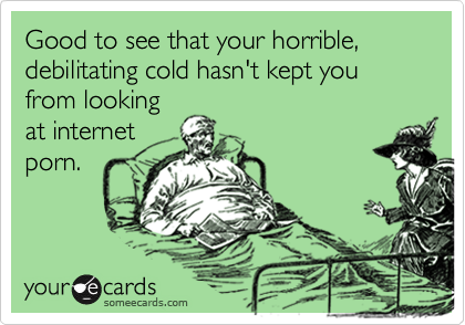 someecards.com - Good to see that your horrible, debilitating cold hasn't kept you from looking at internet porn.
